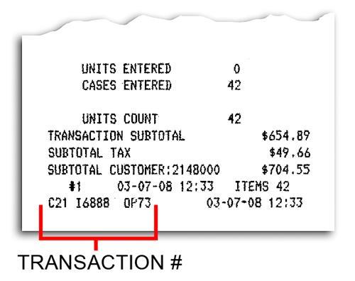 Receipt Transaction Number